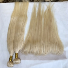 613 Blonde Human Hair Bundles with Frontal Straight Bundles with Frontal Weaves 13×4 Lace Frontal with 3 Bundles